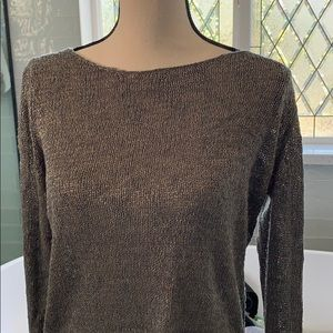 Zara High low gold and gray light knit sweater